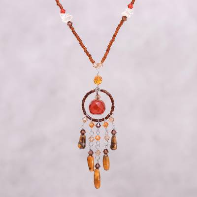 Tiger's eye and carnelian pendant necklace, 'Golden Dreamcatcher' - Tiger's eye and carnelian pendant necklace
