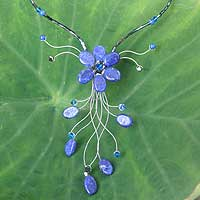 Lapis lazuli flower necklace, 'Jungle Blossom' - Hand Crafted Thai Floral Lapis Lazuli Necklace