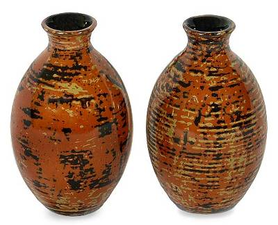 Lacquered bamboo vases (Pair)