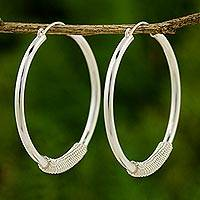 Silver hoop earrings, 'Loop the Hoop' - Fair Trade 950 Silver Hoop Earrings