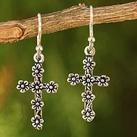Sterling silver cross earrings, 'Blooms and Crosses'
