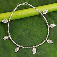 Silver anklet, 'Autumn Medley' - Hill Tribe Silver Anklet