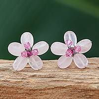 Rose quartz button earrings, 'Crystal Flower' (Thailand)
