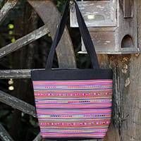 Cotton handbag, 'Rainbow Parallels' - Cotton handbag