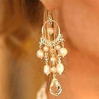 Pearl chandelier earrings, 'White Ruffles' - Hand Crafted Pearl Chandelier Earrings