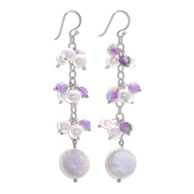 Pearl and amethyst cluster earrings