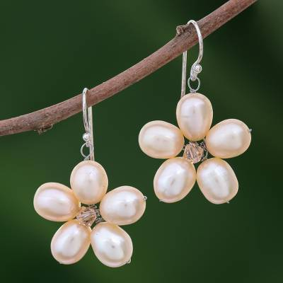 Pearl flower earrings, 'Pink Blossom' - Unique Pearl Flower Earrings
