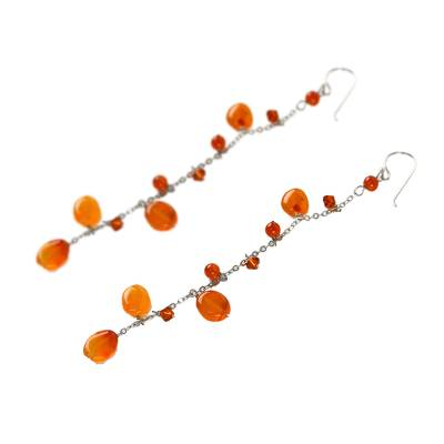Carnelian dangle earrings, 'Fiery Romance' - Hand Made Carnelian Dangle Earrings