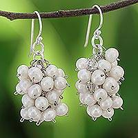 Pearl cluster earrings, 'Sweet White Grapes' - Pearl cluster earrings