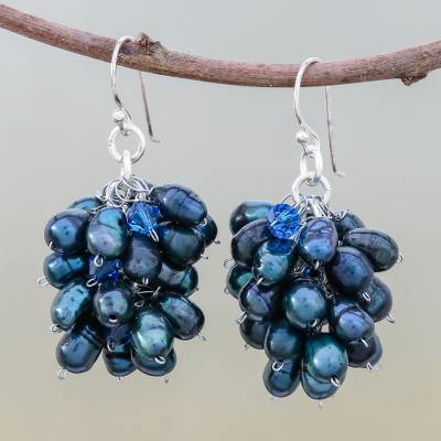 Pearl cluster earrings, 'Sweet Blue Grapes' - Pearl cluster earrings
