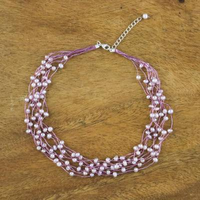Pearl choker, 'Pink Web of Beauty' - Pearl Strand Necklace