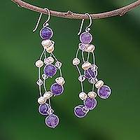 Pearl and amethyst waterfall earrings, 'Charming in Violet' - Pearl and amethyst waterfall earrings