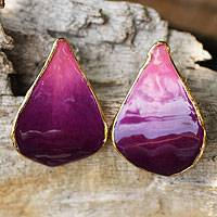Gold-plated natural orchid button earrings, 'Purple Tears'