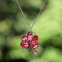 Natural orchid gold-plated flower necklace, 'Red Radiance' (Thailand)