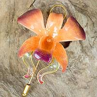 Natural orchid gold-plated stickpin, 'Sunset Beauty' - Unique Gold Plated Natural Flower Brooch Pin from Thailand