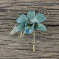 Natural orchid gold-plated stickpin, 'Baby Blue' - Gold Plated Natural Orchid Stickpin