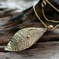 Natural leaf necklace, 'Forest Solo' - Gold Plated Leaf Pendant Necklace