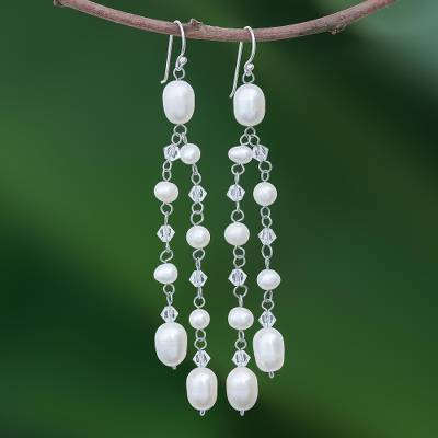 Pearl waterfall earrings, Shimmering Perfection