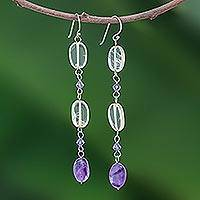 Amethyst and citrine earrings, 'Precious' - Citrine and Amethyst Dangle Earrings