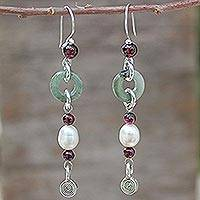 Jade and garnet drop earrings, 'Clouds of Pearl'