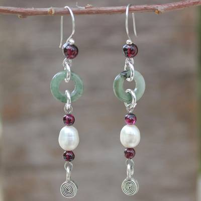 Jade and garnet drop earrings, 'Clouds of Pearl' - Handcrafted Jade and Pearl Dangle Earrings