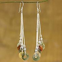Jade and rainbow moonstone drop earrings,