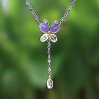 Amethyst and citrine necklace, 'Butterfly Secrets' - Beaded Amethyst and Citrine Necklace