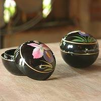 Lacquered wood boxes, 'Orchid Romance' (pair) - Hand Painted Lacquered Wood Boxes (Pair)