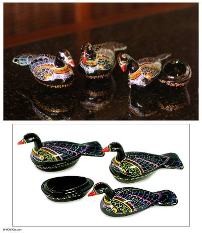 Lacquered wood boxes, 'Wild Ducks' (set of 3) - Lacquered Wood Boxes (Set of 3)