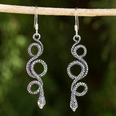 Sterling silver dangle earrings, 'Infinity Serpent' - Sterling Silver Snake Earrings