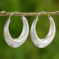 Sterling silver hoop earrings, 'Full Moon' - Sterling Silver Hoop Earrings