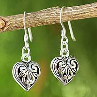 Sterling silver heart earrings, 'Filigree Heart' - Romantic Sterling Silver Dangle Earrings