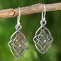 Sterling silver dangle earrings, 'Gordian Knot' - Hand Crafted Sterling Silver Dangle Earrings from Thailand