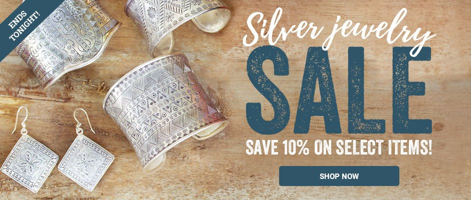Silver jewelry sale! Save 10% on select items. Shop now!
