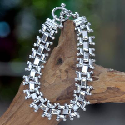Men's sterling silver link bracelet, 'Freedom' - Men's Handmade Sterling Silver Link Bracelet