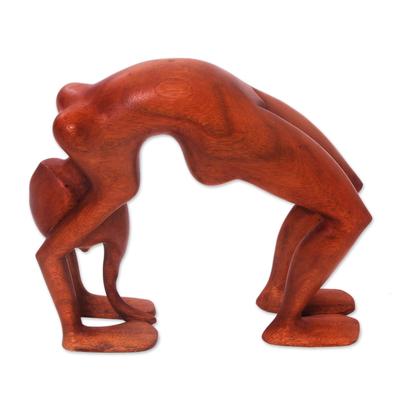 Wood statuette, 'Lithe Yoga Backbend' - Wood statuette