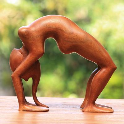Wood statuette, 'Lithe Yoga Backbend' - Wood statuette (image 2b)