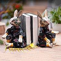 Wood bookends, 'Rabbits Like to Read' - Indonesian Wood Rabbit Bookends (Pair)