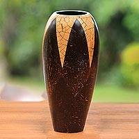 Coconut shell vase, 'Tropical Snow Cone' - Coconut shell vase
