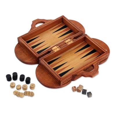 Wood backgammon set, 'Lion Meets Bull' - Wood backgammon set