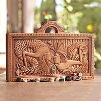 Wood backgammon set, 'Mermaid Marriage' - Balinese Mermaid Theme Carved Wood Backgammon Set