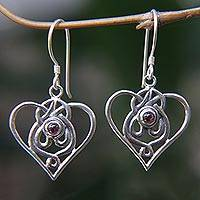 Garnet dangle earrings, 'My Heart and Yours' - Heart Shaped Garnet Sterling Silver Earrings