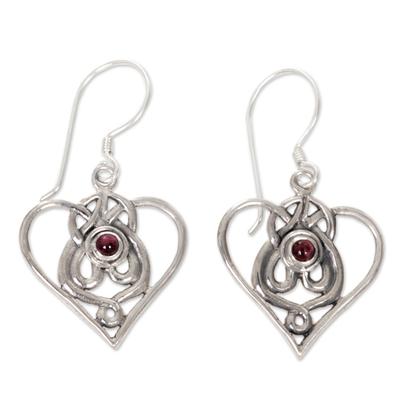 Heart Shaped Garnet Sterling Silver Earrings
