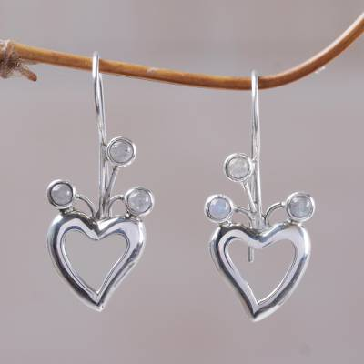 Rainbow moonstone drop earrings, 'Lucky in Love' - Heart Shaped Rainbow Moonstone Drop Earrings