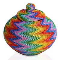 Beaded rattan basket, 'Rainbow Lightning' - Hand Beaded Rattan Basket