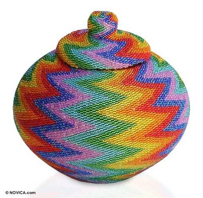 Beaded rattan basket, 'Rainbow Lightning' - Hand Beaded Rattan Basket
