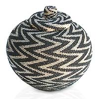 Beaded rattan basket, 'Night Thunder' - Unique Hand Beaded Rattan Basket