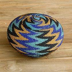 Beaded rattan basket, 'Ocean Thunder' - Hand Beaded Geometric Pattern Rattan Basket