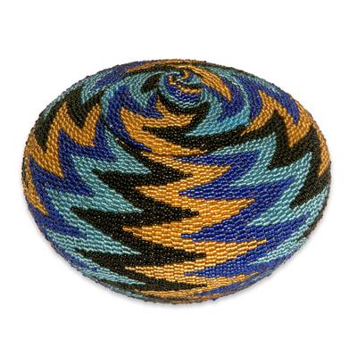 Beaded rattan basket, 'Ocean Thunder' - Hand Beaded Geometric Pattern Rattan Basket