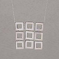 Sterling silver pendant necklace, 'Fair Square'